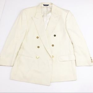 Vintage Burberry Cream Blazer with Gold Buttons